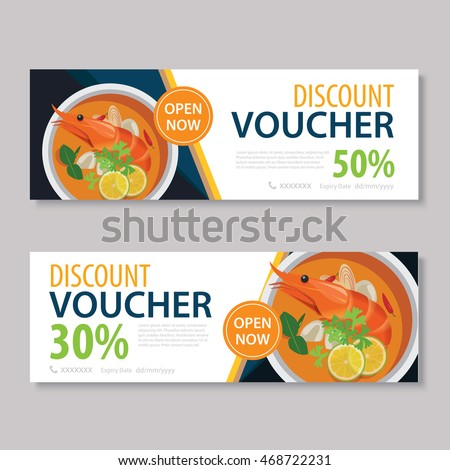 Discount Voucher Template Thai Food Flat Stock Vector (Royalty Free ...