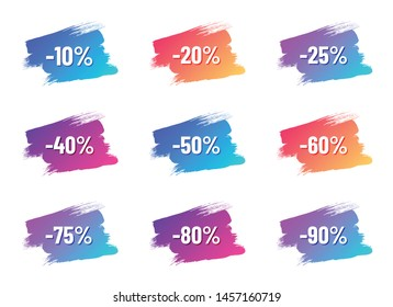 discount white letterings with shadows on color gradient brush strokes. discount from 10 to 90 percent off. illustration for promo advertising discounts