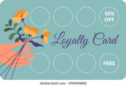 Discounts and free products for using loyalty card in shop or store. Bonus and sales, reduction of price and coupons for loyal clients and customers. Hand holding flowers. Vector in flat style