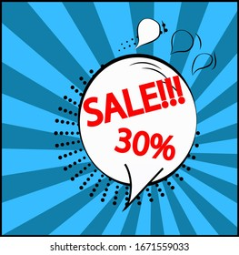 Discounts on sales. Comic offer price signs.  30 percent discount symbols. Speech bubbles or chat symbols. The colored elements. Vector