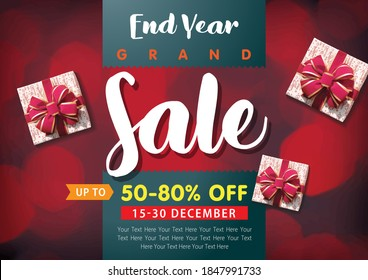 Discounts, Sale banner, Christmas super sale up to 50-80% off, colorful bokeh background with snowflake. Handwritten font, horizontal