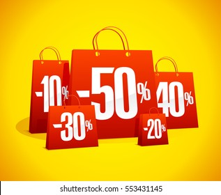 Discounts sale banner with red paper shopping bags against vibrant yellow backdrop, clearance coupon design