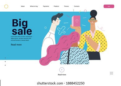 Discounts, sale, promotion - web template - shop consultant - modern flat vector concept illustration of customers and a salesperson telling about and offering the product. Big sale