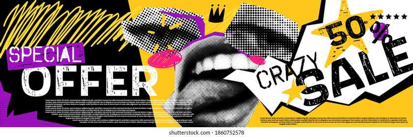 Discounts vector collage grunge banner. Lips and eyes in parted, above them a crown. Crazy 50 percent off. Doodle elements on a retro poster. Stylish modern advertising poster design