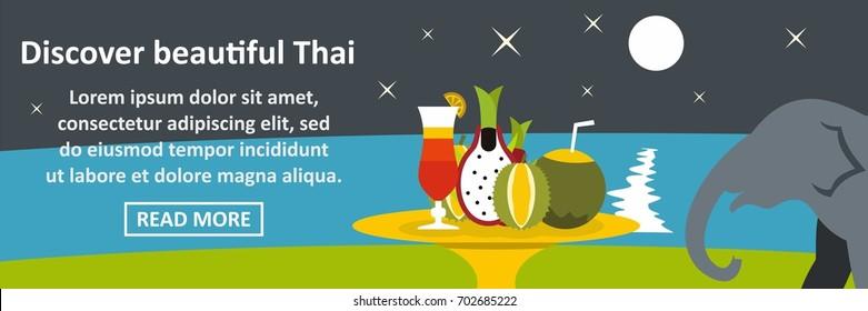 Discover beautiful thai banner horizontal concept. Flat illustration of discover beautiful thai banner horizontal vector concept for web