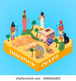 Discover egypt isometric poster with ancient egyptian gods and pyramids on blue background 3d vector illustration