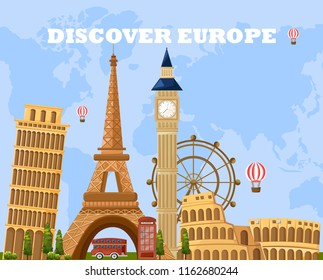 Discover Europe travel card Vector. Main tourist attractions with Eiffel Tower, Pisa, Coliseum etc