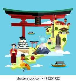 Discover Japan and Japanese culture. Oriental landmarks. Travel Japan concept with Japan landmarks vector.