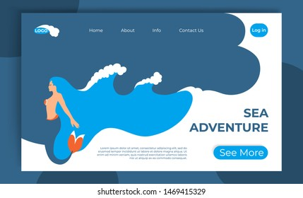Discover new world. Sea adventure vector website template, web landing page design for mobile site. Mermaid with hair ocean waves. Sea underwater trip concept flat illustration