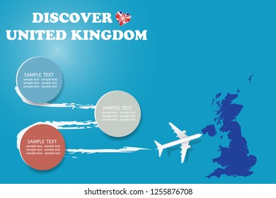 Discover United Kingdom template vector showing the plane approaching the blind map of Great Britain. The pattern has plenty of room for your notes and photos.