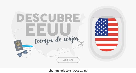 Discover Usa. Time to travel. Written in Spanish. World travel and tourism concept flat vector. Plane window banner