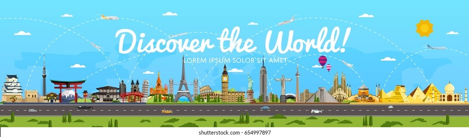 Discover the World poster with famous attractions vector illustration. Taj Mahal, Todaydzi, Sagrada Familia, Chichen Itza pyramid, Empire State Building and other. Tour guide for traveling agency