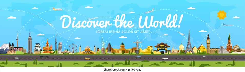 Discover the World poster with famous attractions vector illustration. Torii Gate, Statue of Liberty, Big Ben, Fujiyama, Eiffel Tower, Buddha statue and other. Worldwide traveling, time to travel