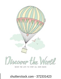 Discover the world. Vintage motivational postcard with balloon