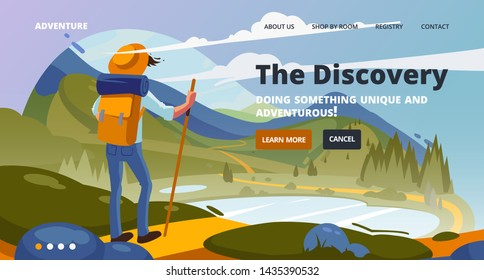 Discovery banner. Adventure of a young man in the mountains, travel on hiking trails. Adventure travel site banner, 3d effect. Concept of discovery, exploration, hiking, adventure tourism.