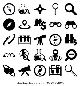 Discovery icons. set of 25 editable filled discovery icons such as map location, telescope, compass, test tube, planet and satellite, binoculars with dollar sign, binoculars