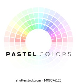 Discrete set of pastel shades. Circle color palette. Pastel color spectrum. Vector illustration isolated on white background