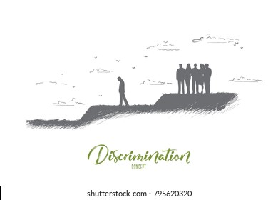 Discrimination concept. Hand drawn crowd of people expels one man from their community. Gossip people against one person isolated vector illustration.
