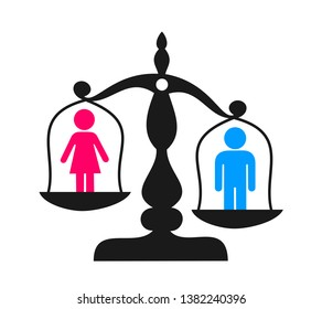 Discrimination and enequal inequality based on sex and gender - man and male as superior to inferior womna and female. Issue of social handicap and disadvantage,. Vector illustration