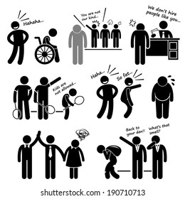Discrimination Racist Prejudice Biased Stick Figure Pictogram Icon Cliparts