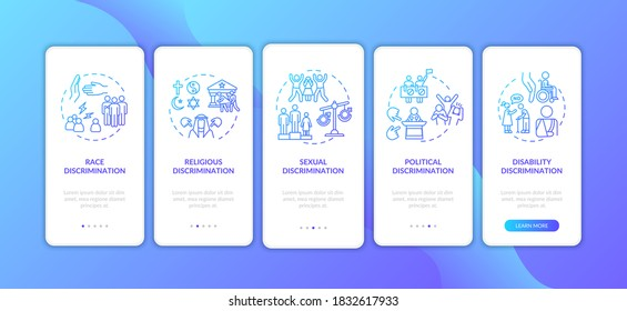 Discrimination types onboarding mobile app page screen with concepts. Racial and disability prejudice. Walkthrough 5 steps graphic instructions. UI vector template with RGB color illustrations