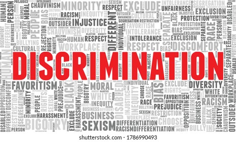 Discrimination word cloud isolated on a white background