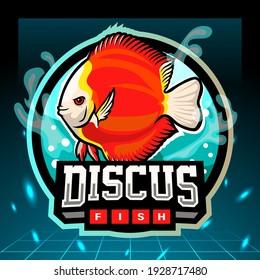 Discus fish mascot. esport logo design