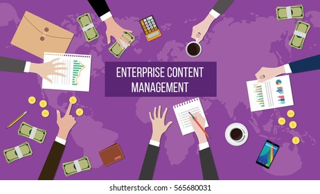 discussion about enterprise content management on a meeting table illustration with paperworks, money and document folder on top of table