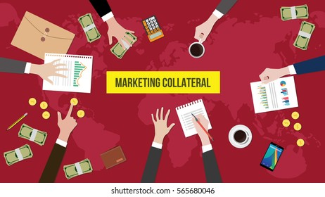 discussion about marketing collateral on a meeting table illustration with paperworks, money and document folder on top of table