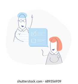 Discussion about tasks, meeting, business dialog or result talking. Business concept illustration of two cartoon business people talking to each other about solving the problem.