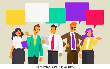 Discussion of business people. News. Speech bubble. Vector illustration in a flat style