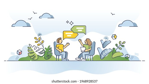 Discussion as talking about conversation topic and speech outline concept. Dialog process and social information exchange vector illustration. Opinion share or psychological therapy participant scene.