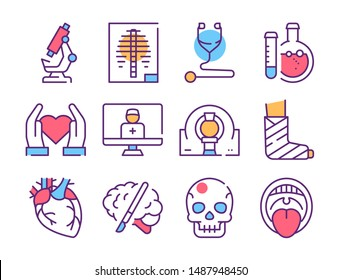Disease diagnostics color linear icons set. Lab tubes, microscope purple thin line illustrations. Heart treatment, cardiology department. X-ray and tomography. Online doctor concept contour drawing