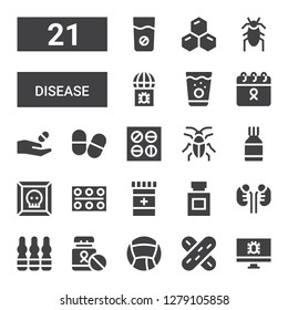 disease icon set. Collection of 21 filled disease icons included Virus, Tongue depressor, Medicine, Ampoule, Kidneys, Pills, Cockroach, Cancer, Cells