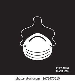 Disease prevention mask icon. Basic icon of a white mask with a black background. Editable vector.