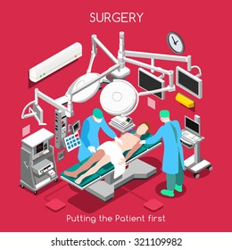 Disease Surgery Department. Medical Doctor Surgeon Patient Surgery Infographic. Isometric Clinic Hospital Plastic Surgery Operating Theatre Surgeon Medicine Doctor 3D Flat People Vector Illustration