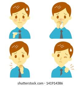 Disease Symptoms 02, fever, sore throat,dripping nose,stiff shoulders