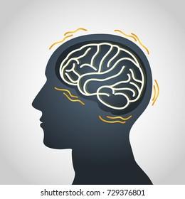 Parkinson's disease vector logo icon illustration