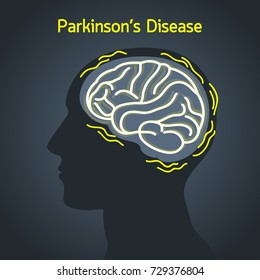Parkinson's disease vector logo icon illustration