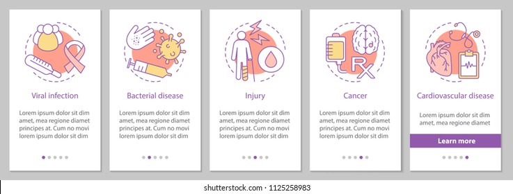 Diseases onboarding mobile app page screen with concept. Viral, bacterial infections, injury, cardiovascular diseases, cancer steps graphic instructions. UX, UI, GUI vector template with illustrations