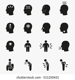 Diseases and sick icons. Vector set of symptom headache and fever illustration