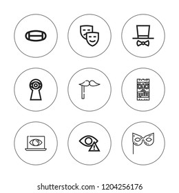 Disguise icon set. collection of 9 outline disguise icons with costume, mask, masks, masquerade, spy icons. editable icons.