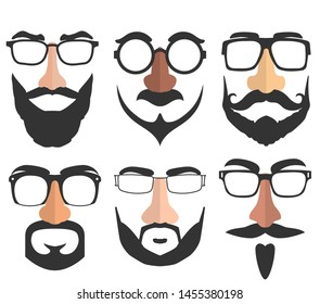 Disguise mask: glasses, eyebrows, nose, mustache and beard. Collection of funny vector illustrations isolated on a white. Masks for Halloween, holidays and entertainment. Disguises a person's face.