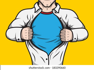 Disguised comic book superhero adult man under cover opening his shirt template vector illustration