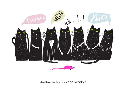 Disgusted Cats Group Talking and Mouse. Fun black group of Cats sitting looking mouse.