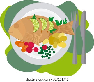 Dish containing fish with vegetables and cutlery.