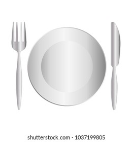 dish with fork and knife icon over white background vector illustration