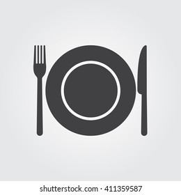 Dish fork and knife icon vector, solid illustration, pictogram isolated on gray