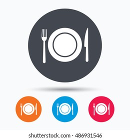 Dish, fork and knife icons. Cutlery sign.