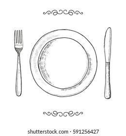 Dish fork and knife sketch. utensils vector vintage illustration